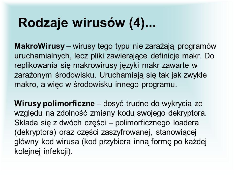 Rodzaje wirusów (4)... MakroWirusy – wirusy tego typu nie zarażają programów. uruchamialnych, lecz pliki zawierające definicje makr. Do.