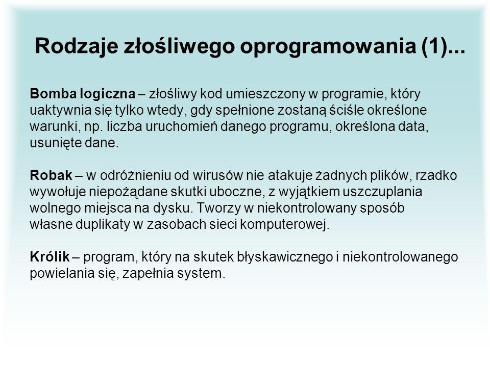 Rodzaje złośliwego oprogramowania (1)...