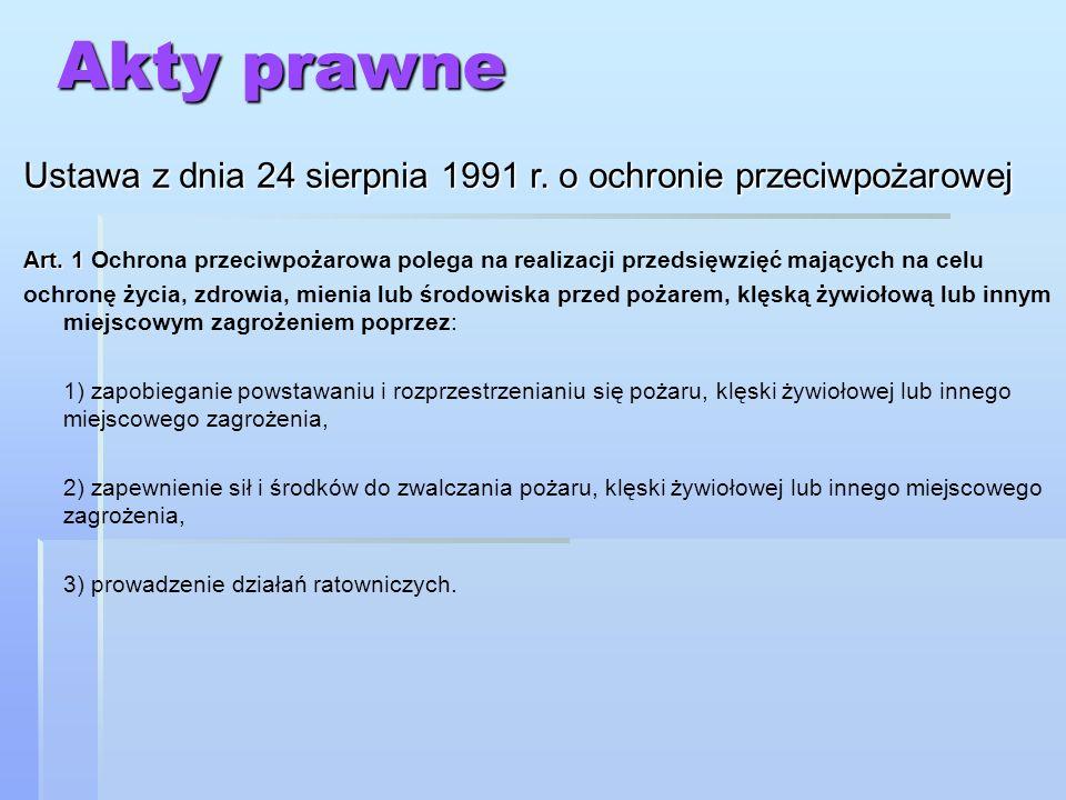 Akty prawne Ustawa z dnia 24 sierpnia 1991 r. o ochronie przeciwpożarowej.
