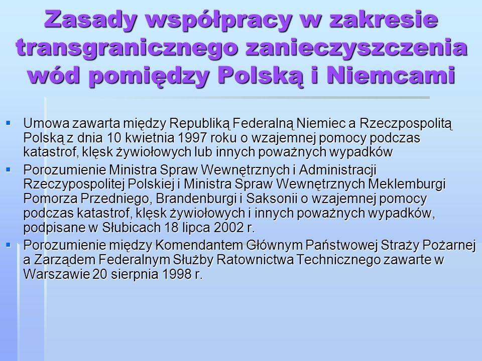 Zasady współpracy w zakresie transgranicznego zanieczyszczenia wód pomiędzy Polską i Niemcami