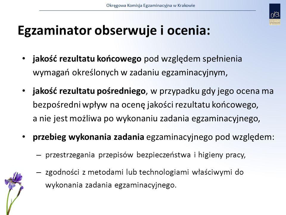 Egzaminator obserwuje i ocenia:
