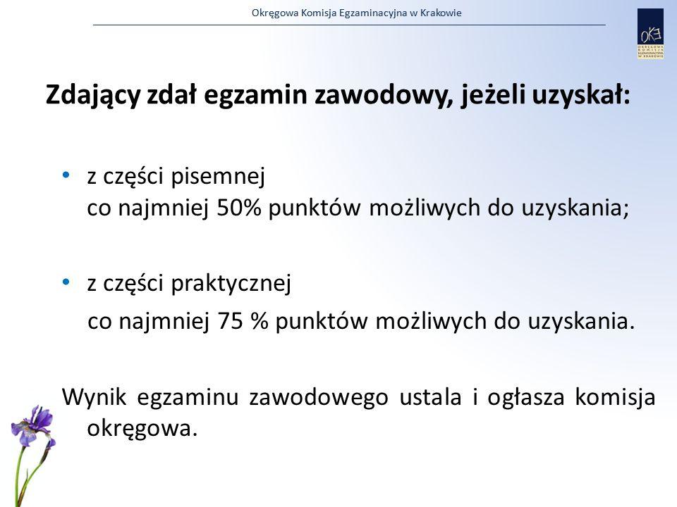 Zdający zdał egzamin zawodowy, jeżeli uzyskał: