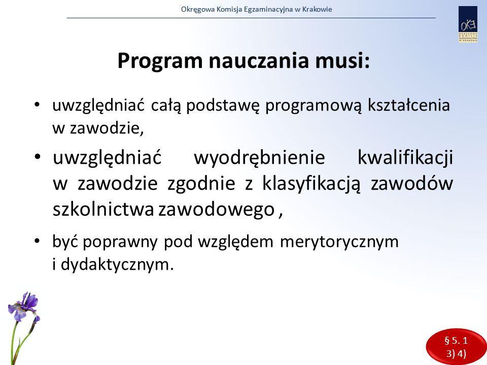 Program nauczania musi: