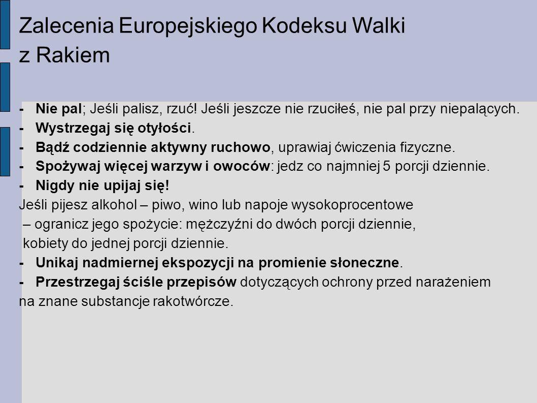 Zalecenia Europejskiego Kodeksu Walki z Rakiem