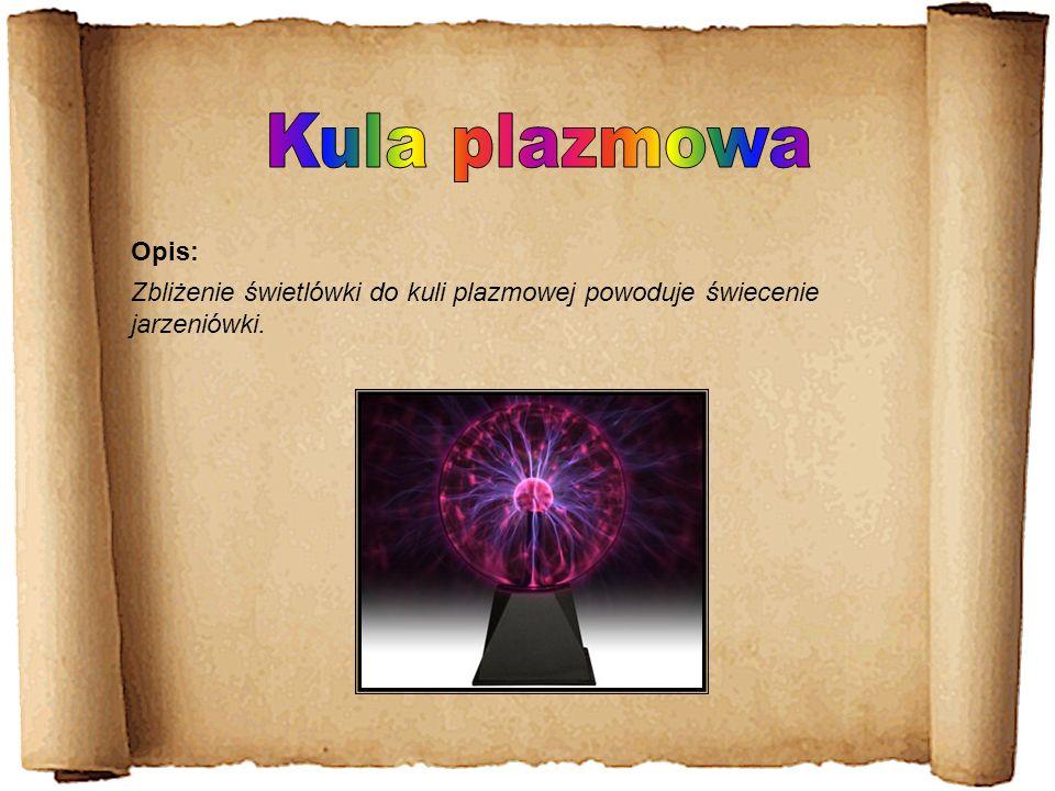 Kula plazmowa Opis: Zbliżenie świetlówki do kuli plazmowej powoduje świecenie jarzeniówki.