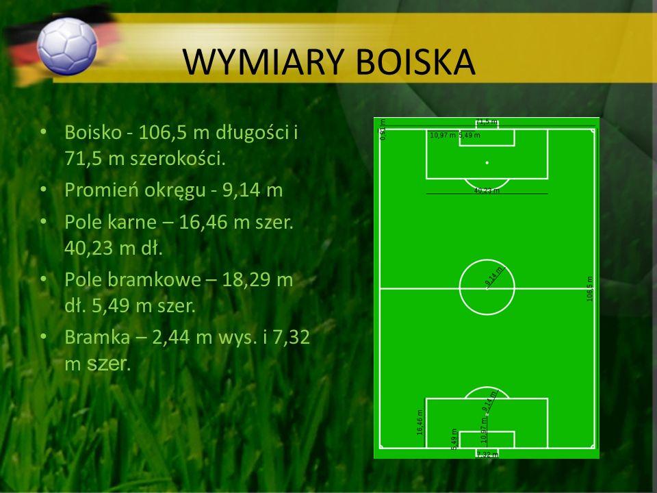 WYMIARY BOISKA Boisko - 106,5 m długości i 71,5 m szerokości.