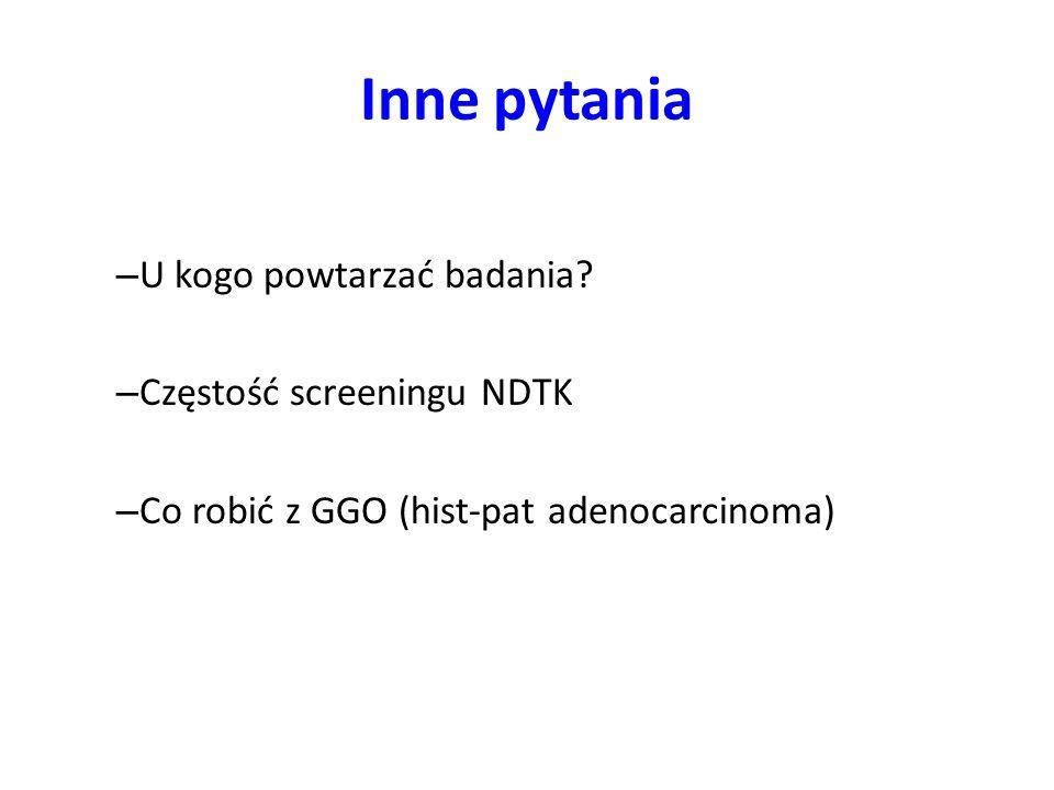 Inne pytania U kogo powtarzać badania Częstość screeningu NDTK