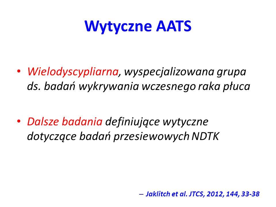 Wytyczne AATS Wielodyscypliarna, wyspecjalizowana grupa ds. badań wykrywania wczesnego raka płuca.