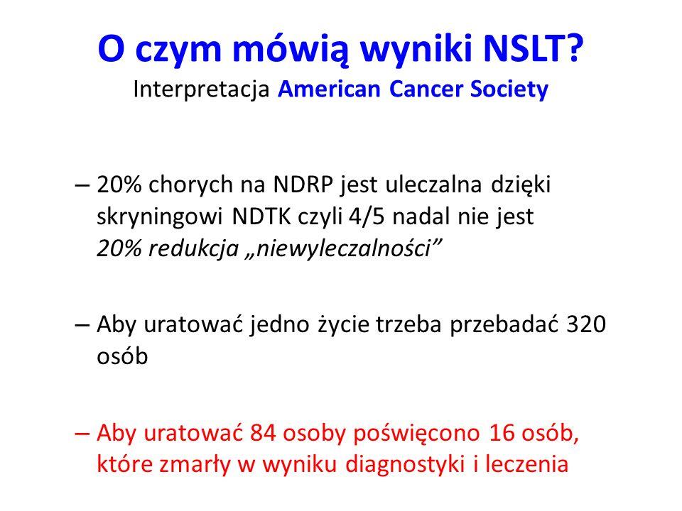 O czym mówią wyniki NSLT Interpretacja American Cancer Society