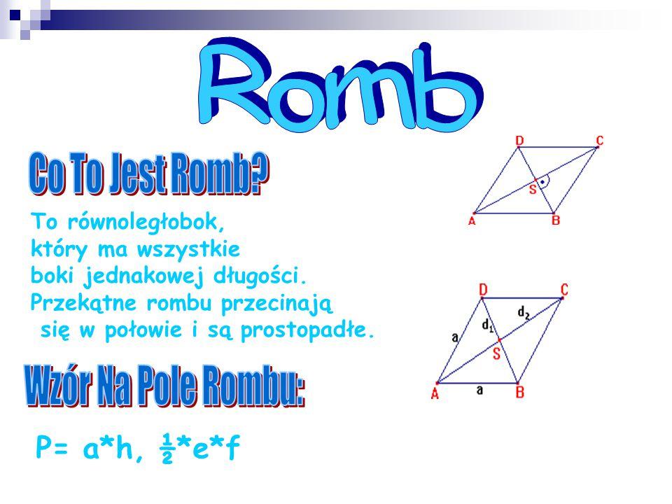 Romb Co To Jest Romb Wzór Na Pole Rombu: P= a*h, ½*e*f