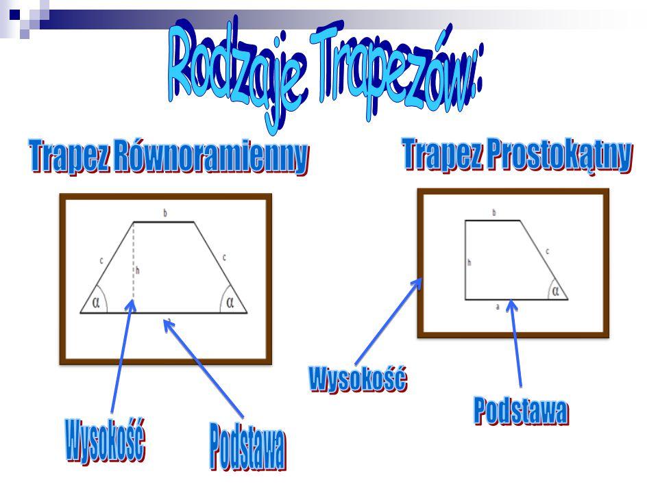 Rodzaje Trapezów: Trapez Równoramienny Trapez Prostokątny Wysokość