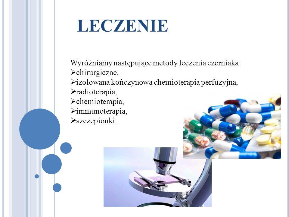 LECZENIE Wyróżniamy następujące metody leczenia czerniaka: