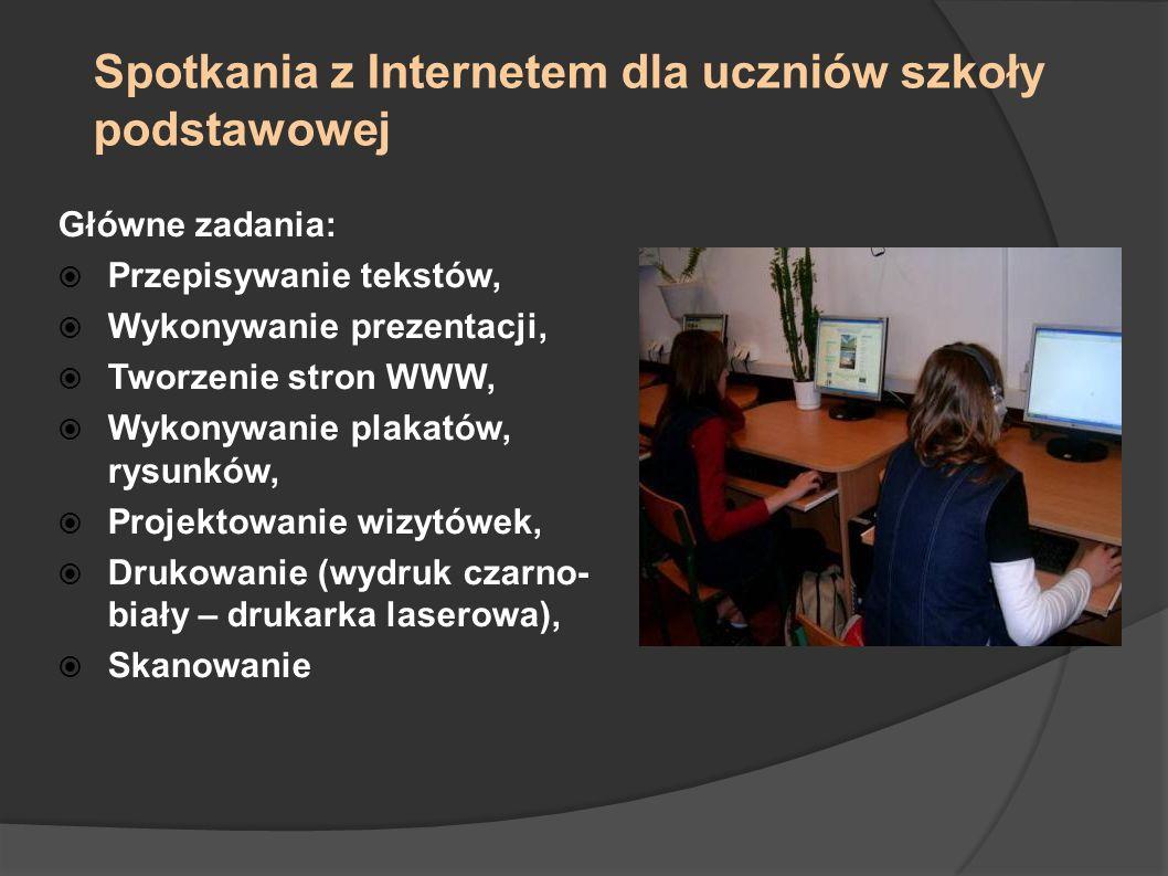 Spotkania z Internetem dla uczniów szkoły podstawowej