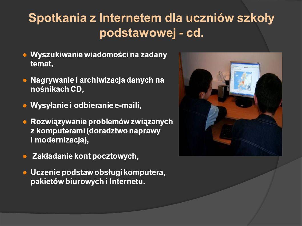 Spotkania z Internetem dla uczniów szkoły podstawowej - cd.