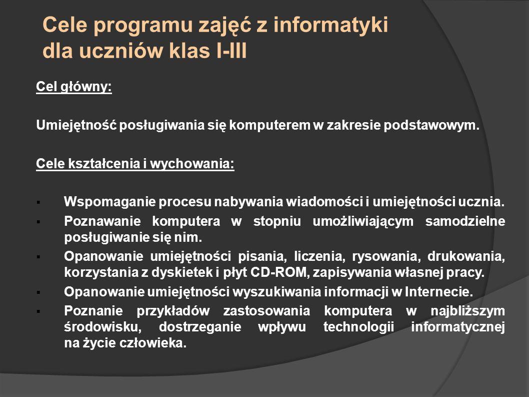 Cele programu zajęć z informatyki dla uczniów klas I-III