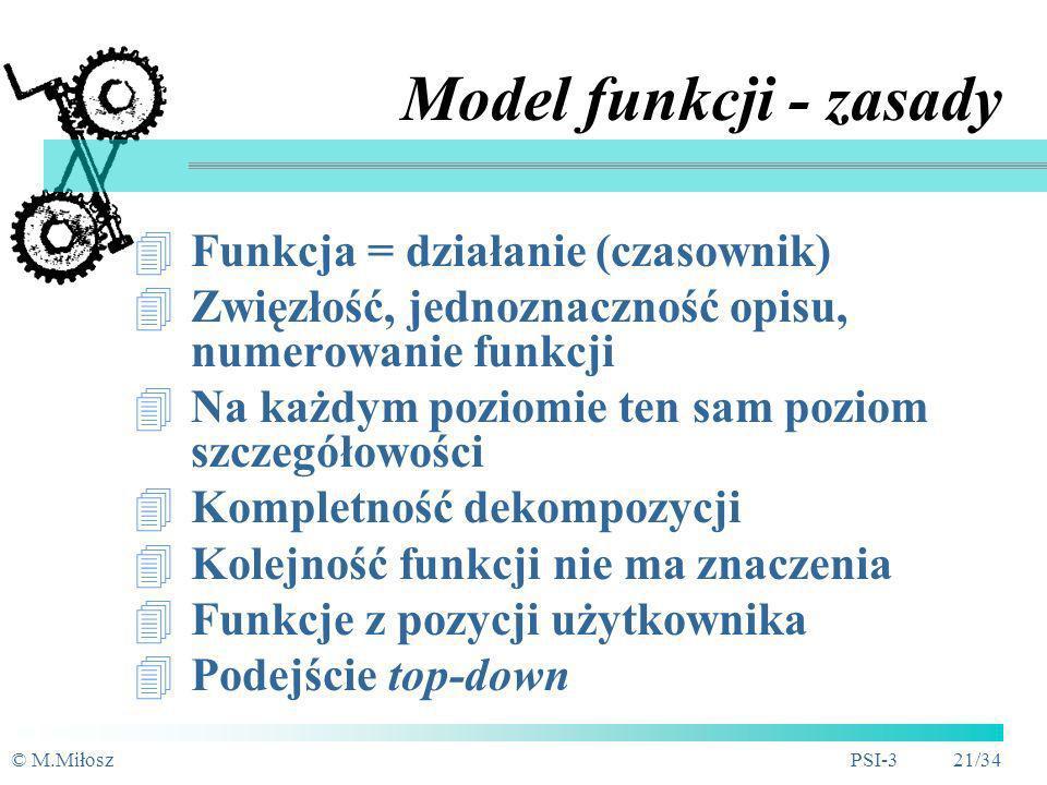 Model funkcji - zasady Funkcja = działanie (czasownik)