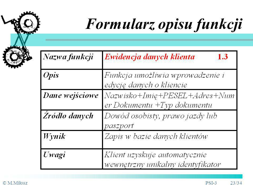 Formularz opisu funkcji