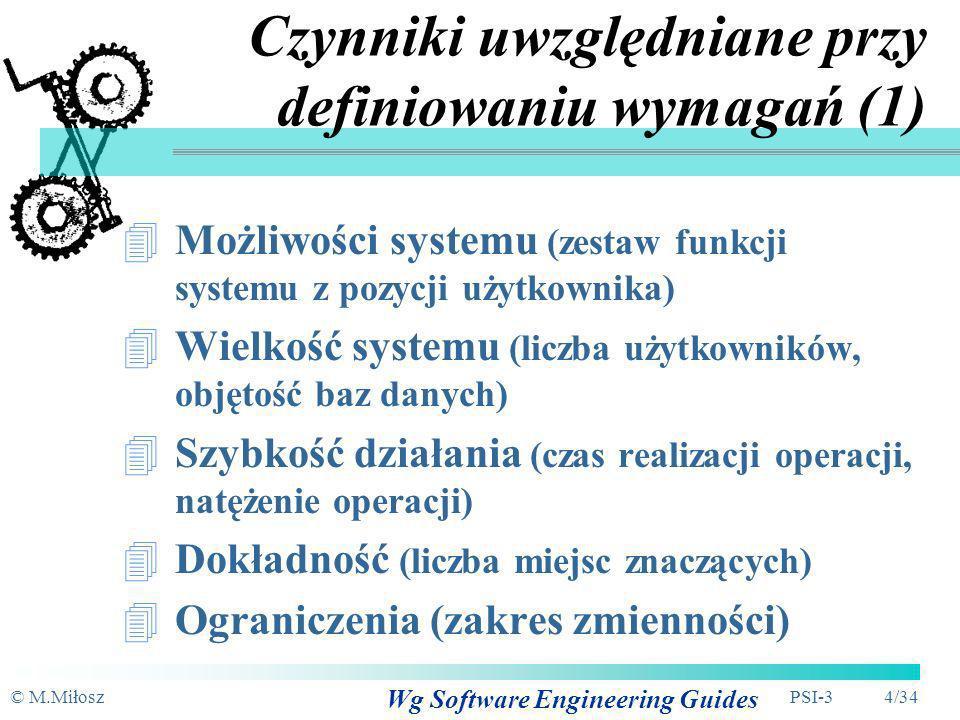 Czynniki uwzględniane przy definiowaniu wymagań (1)