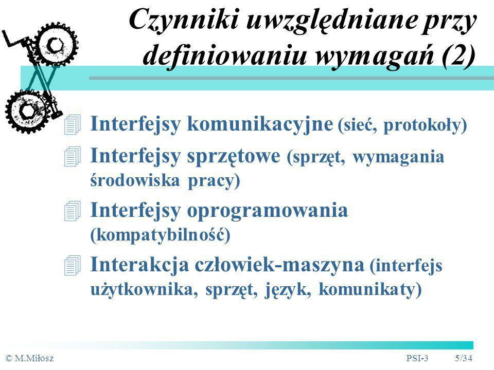 Czynniki uwzględniane przy definiowaniu wymagań (2)