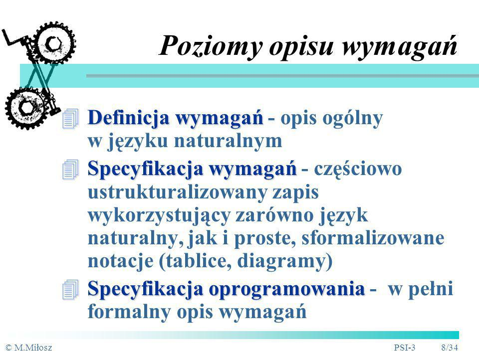 Poziomy opisu wymagań Definicja wymagań - opis ogólny w języku naturalnym.
