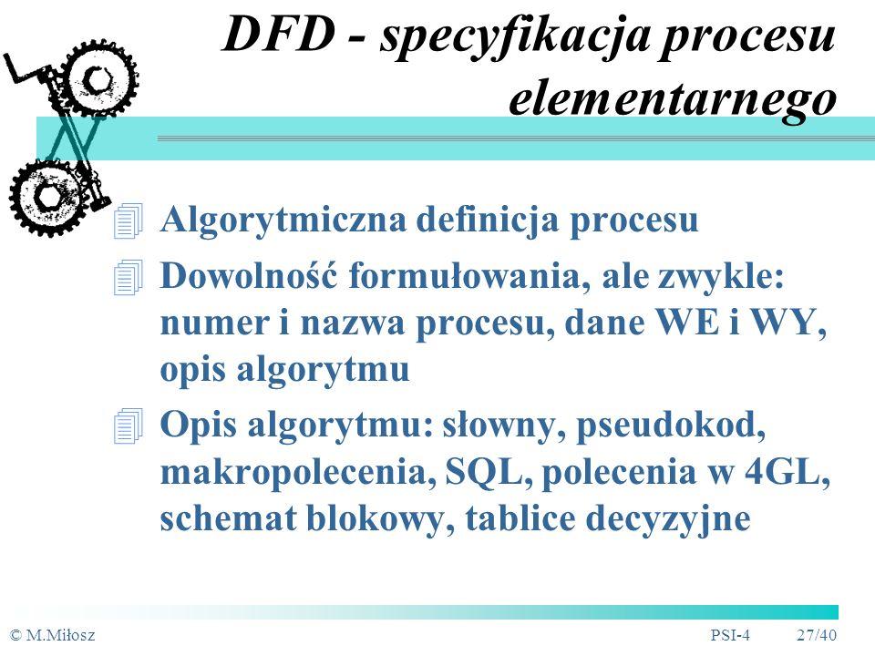 DFD - specyfikacja procesu elementarnego