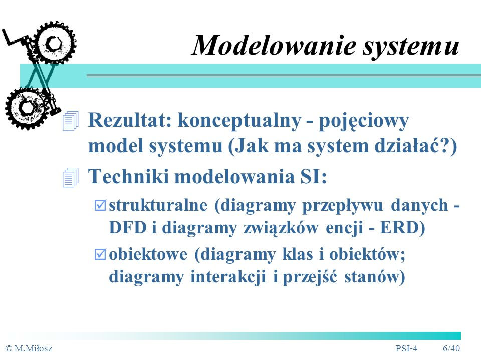 Modelowanie systemu Rezultat: konceptualny - pojęciowy model systemu (Jak ma system działać ) Techniki modelowania SI: