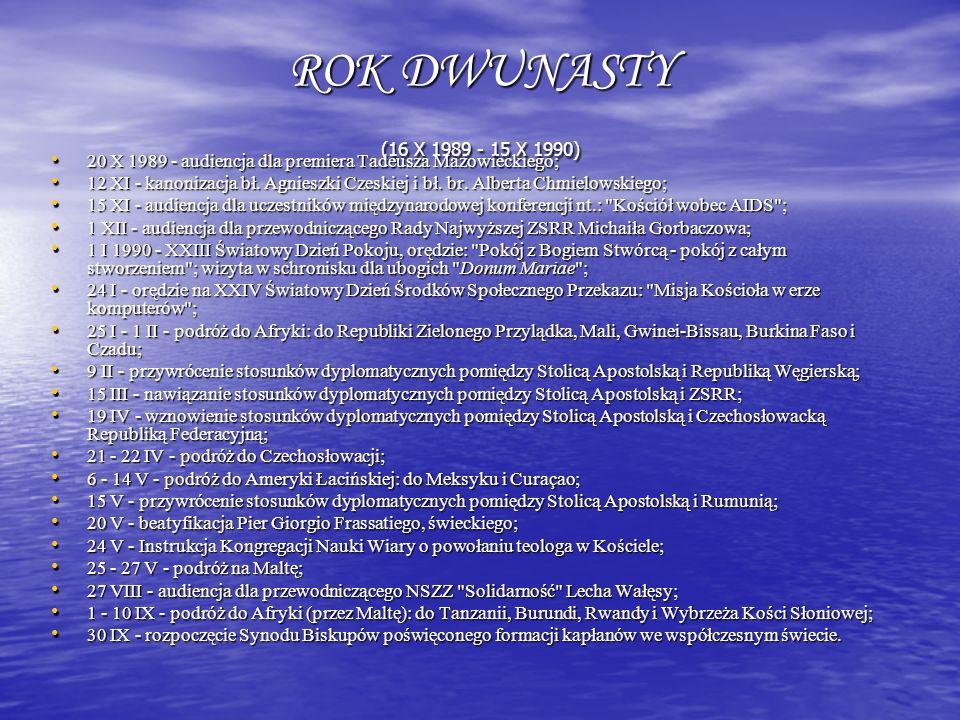 ROK DWUNASTY (16 X 1989 - 15 X 1990) 20 X 1989 - audiencja dla premiera Tadeusza Mazowieckiego;