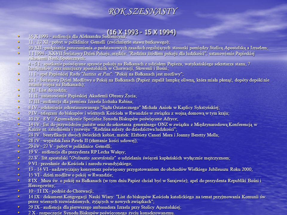 ROK SZESNASTY (16 X 1993 - 15 X 1994) 16 X 1993 - audiencja dla Aleksandra Sołżenicyna;