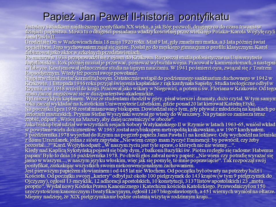 Papież Jan Paweł II-historia pontyfikatu