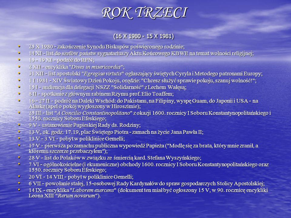 ROK TRZECI (16 X 1980 - 15 X 1981) 25 X 1980 - zakończenie Synodu Biskupów poświęconego rodzinie;