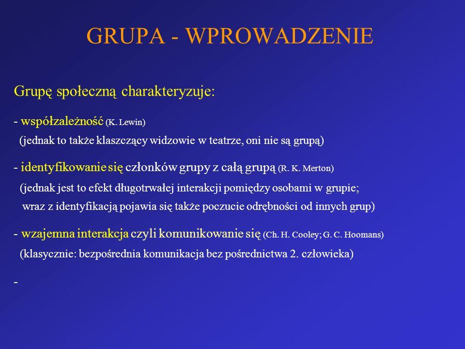 GRUPA - WPROWADZENIE Grupę społeczną charakteryzuje: