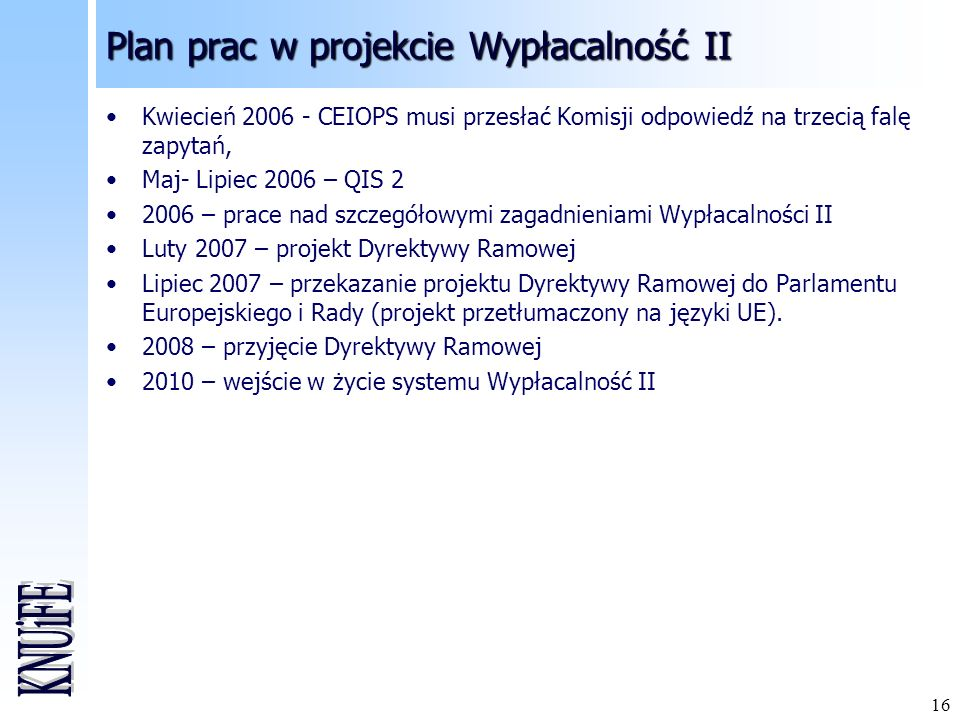 Plan prac w projekcie Wypłacalność II