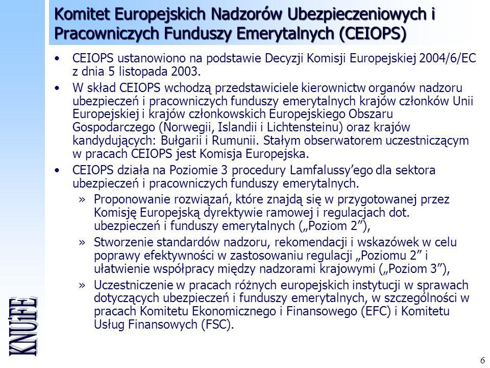 Komitet Europejskich Nadzorów Ubezpieczeniowych i Pracowniczych Funduszy Emerytalnych (CEIOPS)