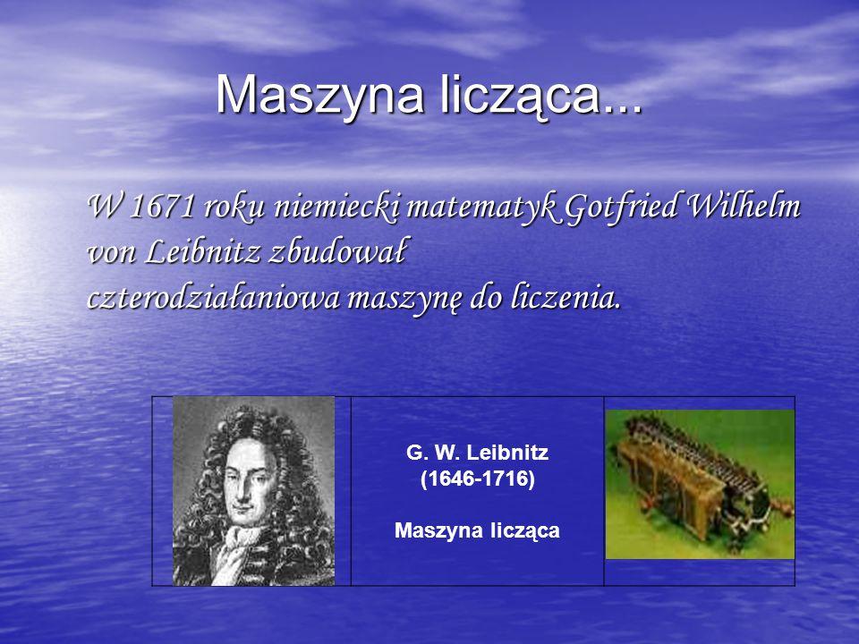 G. W. Leibnitz (1646-1716) Maszyna licząca