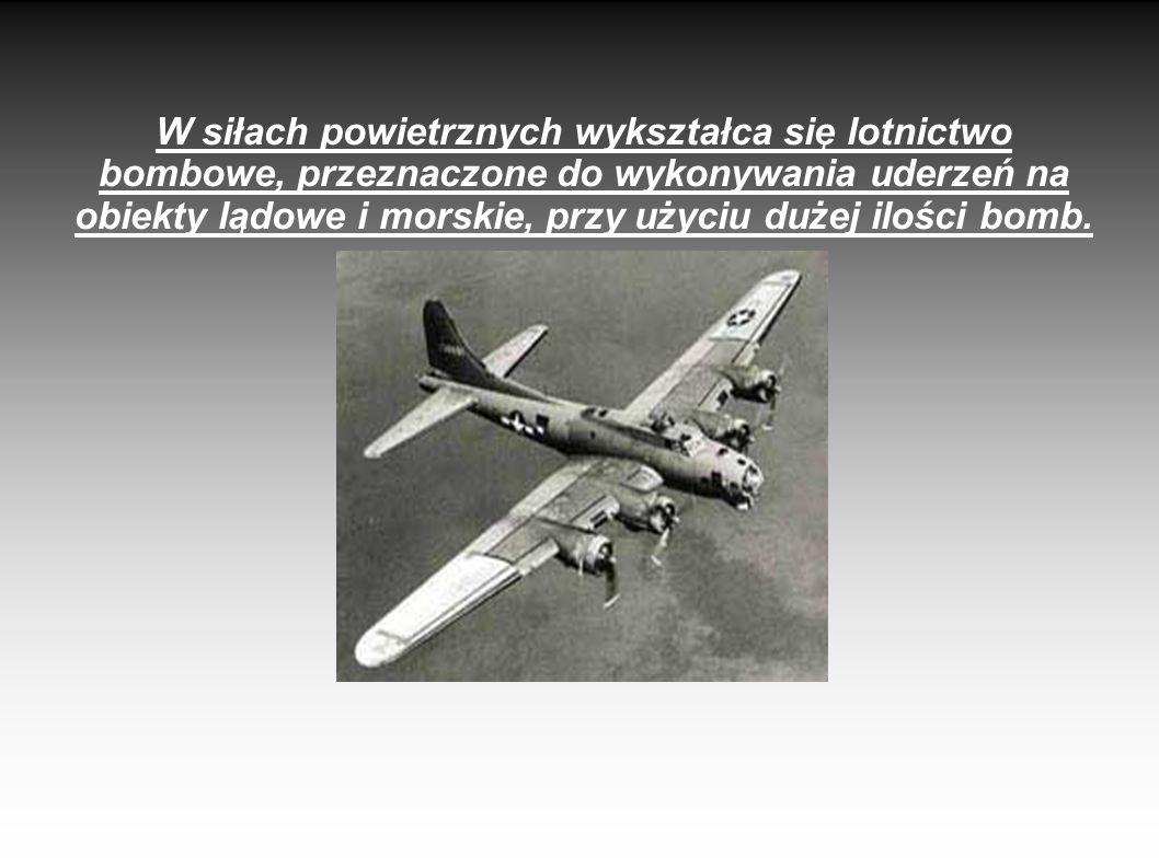 W siłach powietrznych wykształca się lotnictwo bombowe, przeznaczone do wykonywania uderzeń na obiekty lądowe i morskie, przy użyciu dużej ilości bomb.