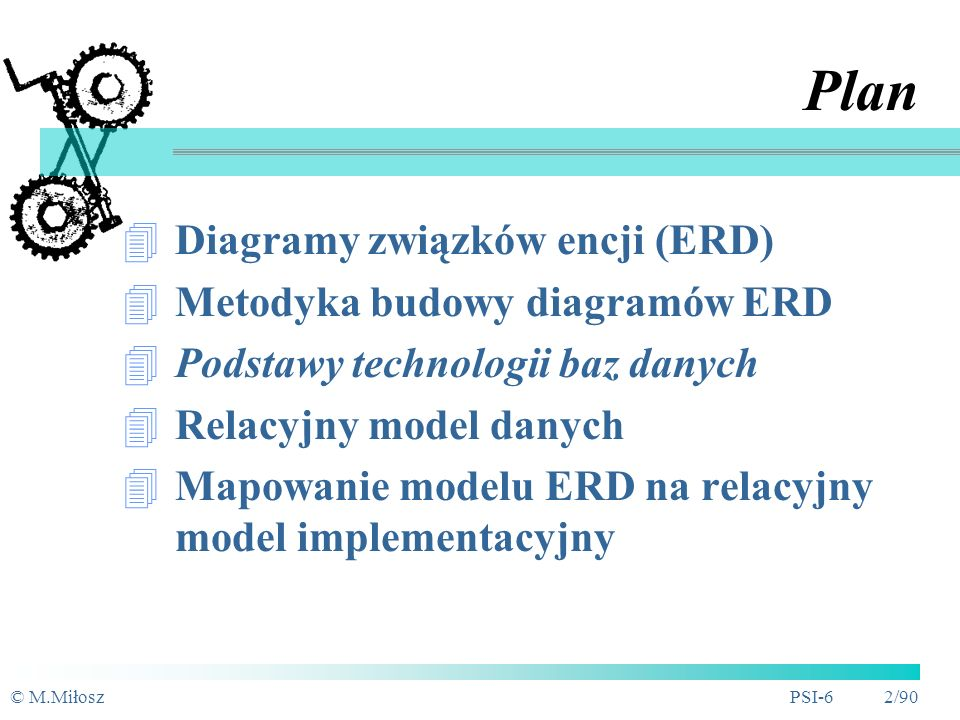 Plan Diagramy związków encji (ERD) Metodyka budowy diagramów ERD
