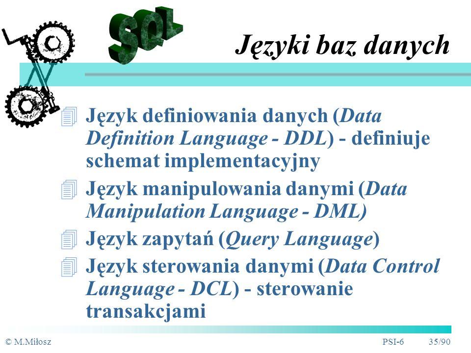 Języki baz danych SQL. Język definiowania danych (Data Definition Language - DDL) - definiuje schemat implementacyjny.