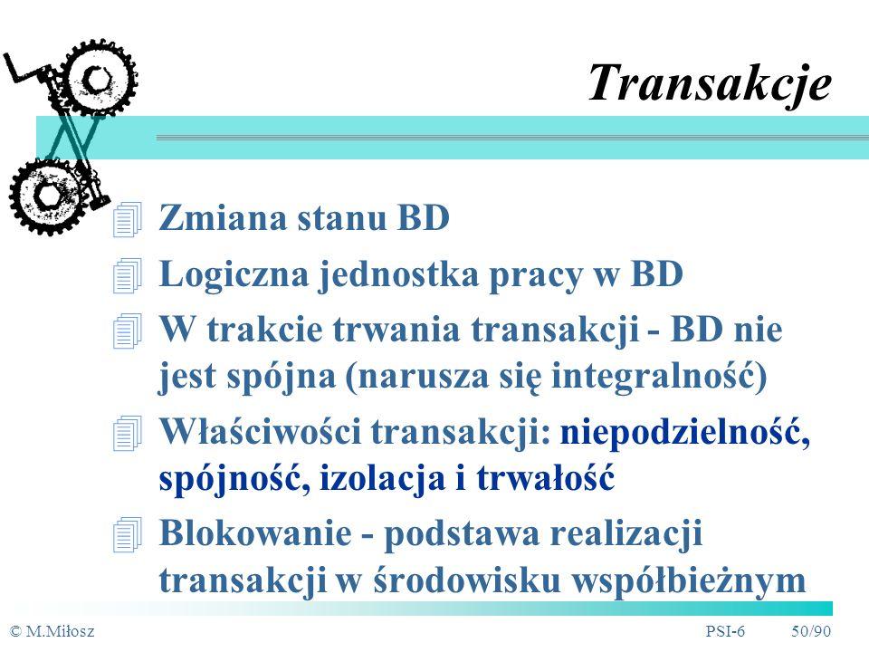 Transakcje Zmiana stanu BD Logiczna jednostka pracy w BD