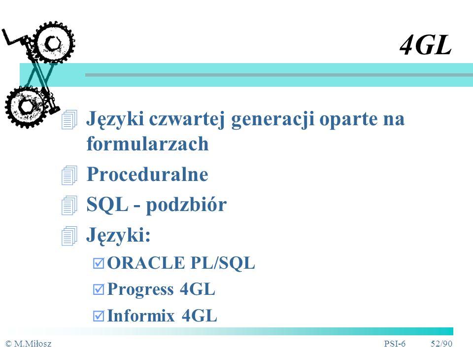 4GL Języki czwartej generacji oparte na formularzach Proceduralne