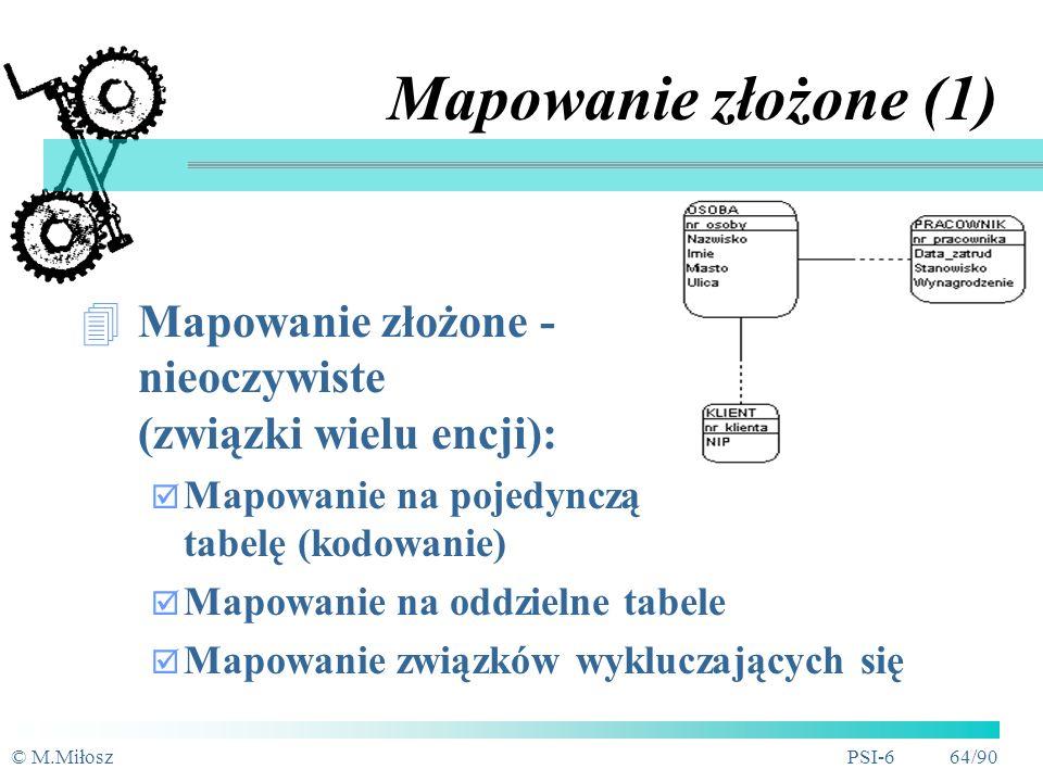 Mapowanie złożone (1) Mapowanie złożone - nieoczywiste (związki wielu encji): Mapowanie na pojedynczą tabelę (kodowanie)