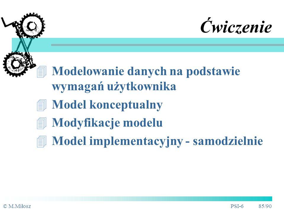 Ćwiczenie Modelowanie danych na podstawie wymagań użytkownika
