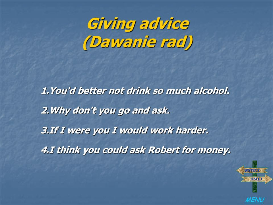 Giving advice (Dawanie rad)