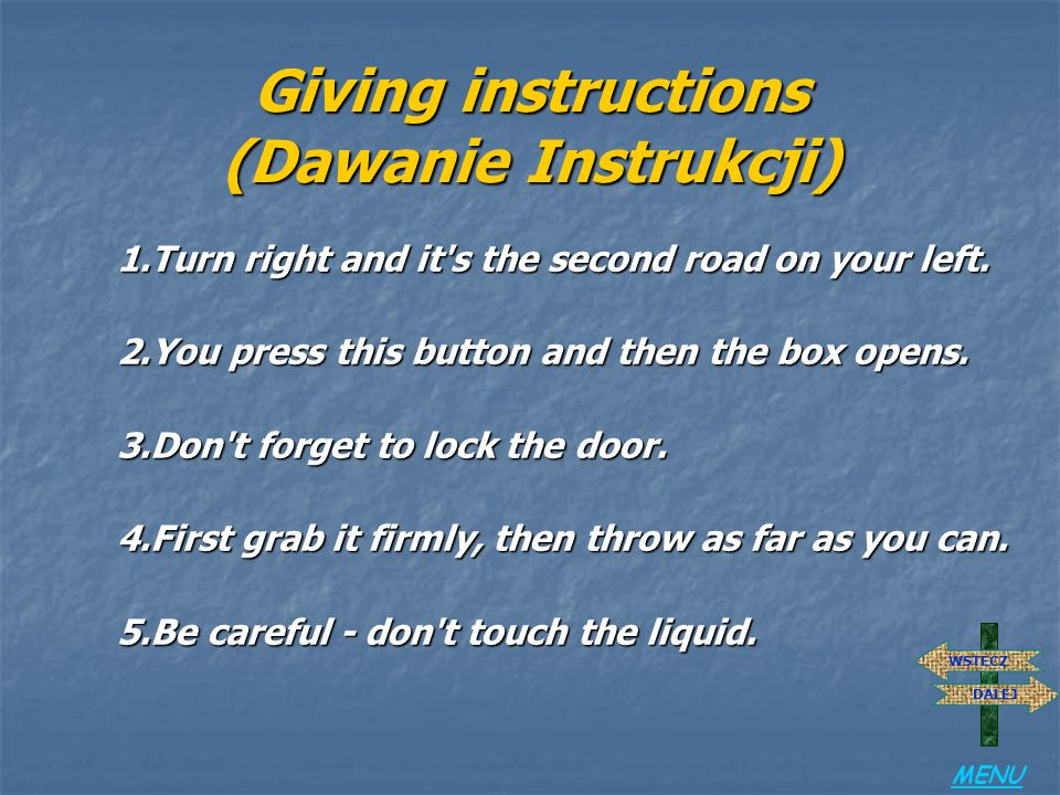 Giving instructions (Dawanie Instrukcji)