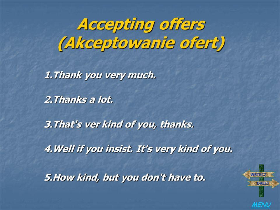 Accepting offers (Akceptowanie ofert)