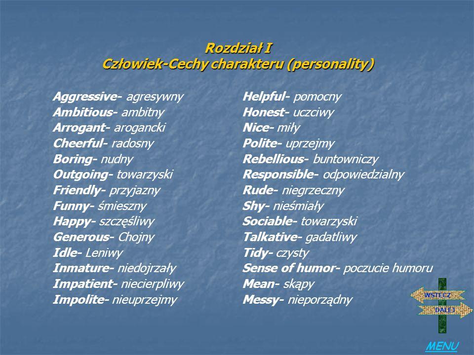 Rozdział I Człowiek-Cechy charakteru (personality)