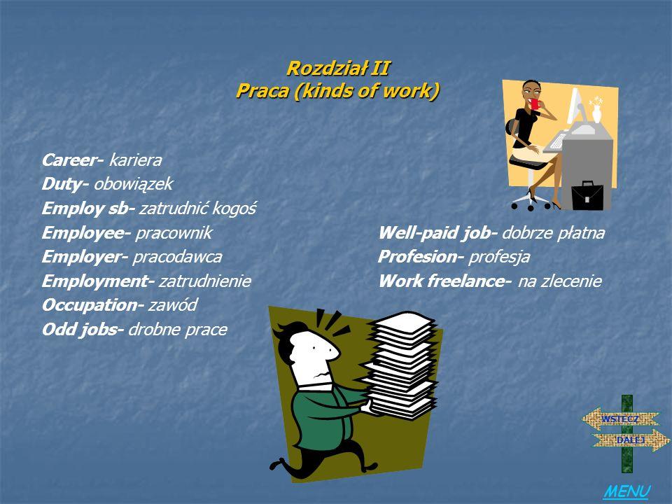 Rozdział II Praca (kinds of work)