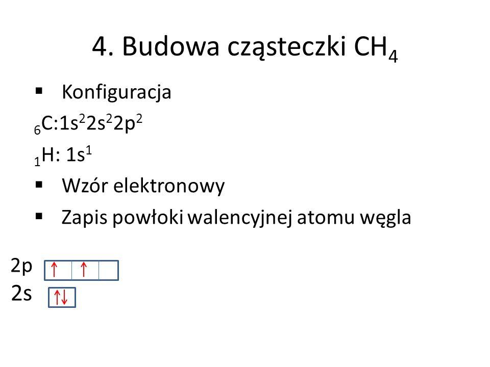 4. Budowa cząsteczki CH4 2s Konfiguracja 6C:1s22s22p2 1H: 1s1