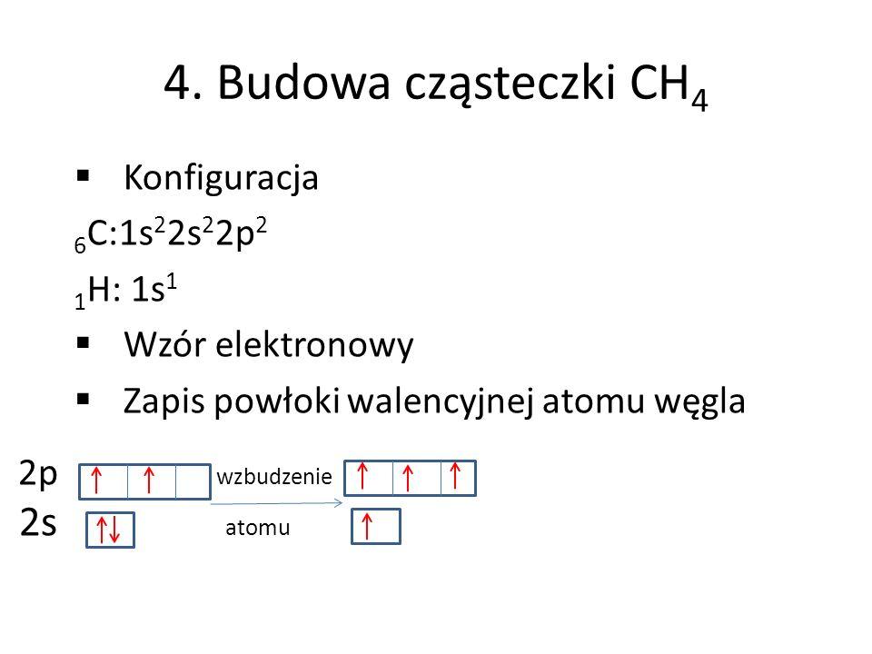 4. Budowa cząsteczki CH4 2s atomu Konfiguracja 6C:1s22s22p2 1H: 1s1