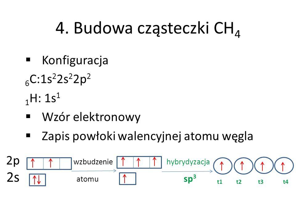 4. Budowa cząsteczki CH4 2s atomu sp3 t1 t2 t3 t4 Konfiguracja