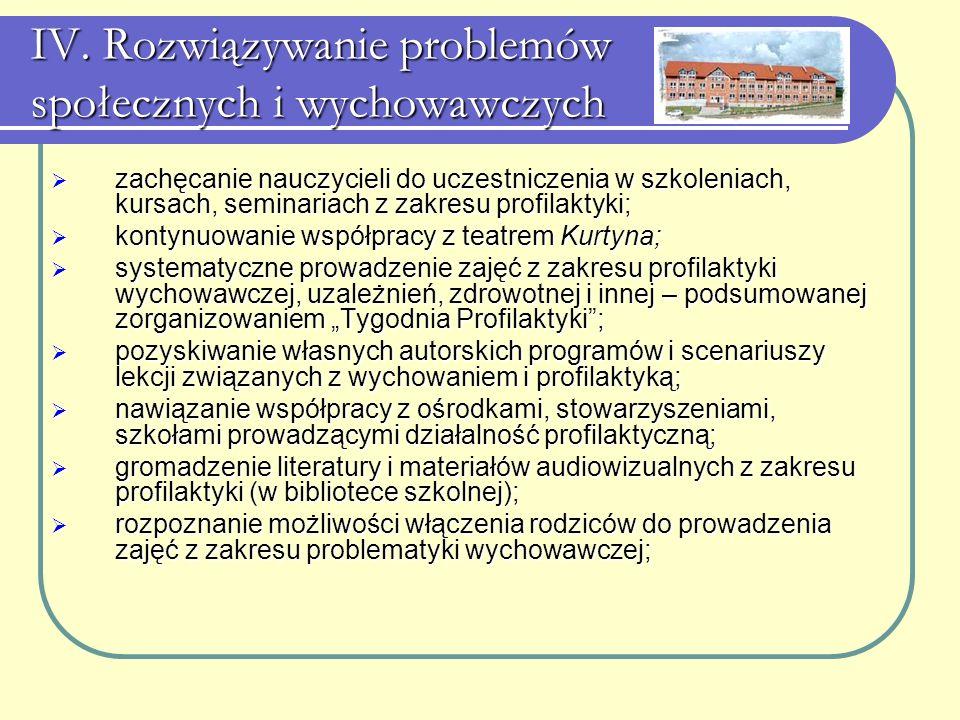 IV. Rozwiązywanie problemów społecznych i wychowawczych